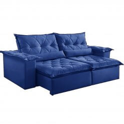 Sofa Retratil e Reclinavel Ouro Preto Azul suede