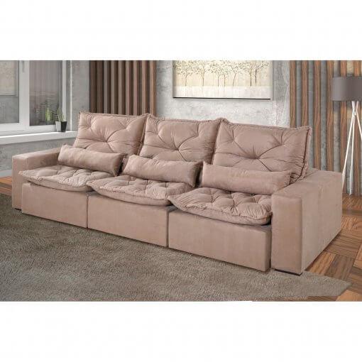 Sofa Retratil e Reclinavel Recreio 6 Lugares 320cm bege