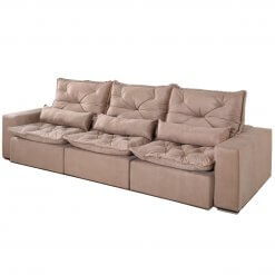 Sofa Retratil e Reclinavel Recreio 6 Lugares 320cm bege suede