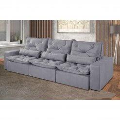 Sofa Retratil e Reclinavel Recreio 6 Lugares 320cm cinza