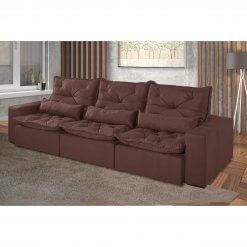 Sofa Retratil e Reclinavel Recreio 6 Lugares 320cm marrom suede
