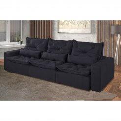 Sofa Retratil e Reclinavel Recreio 6 Lugares 320cm preto