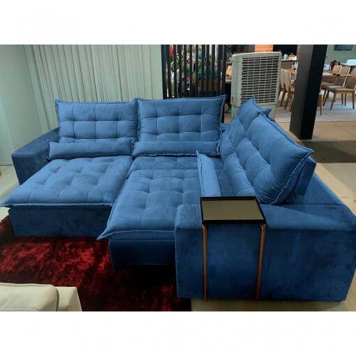 Sofa de Canto Franca Retratil e Reclinavel Azul