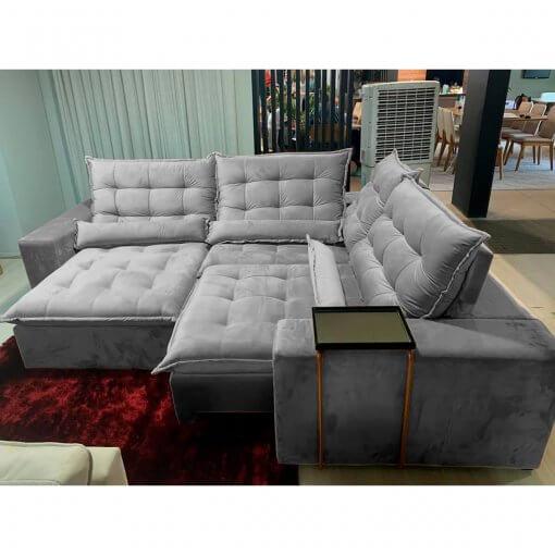 Sofa de Canto Franca Retratil e Reclinavel Cinza