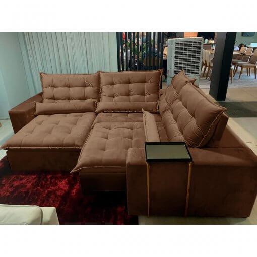 Sofa de Canto Franca Retratil e Reclinavel Marrom