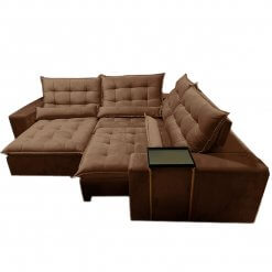 Sofa de Canto Franca Retratil e Reclinavel Marrom suede