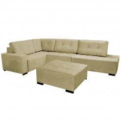 Sofa de Canto com Puff 9160 Tecido Suede Bege