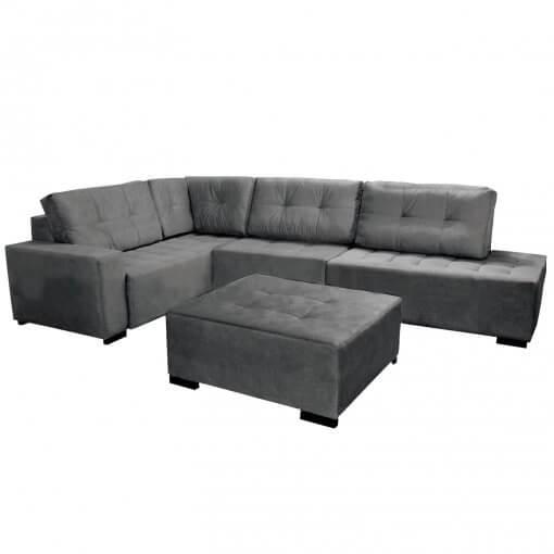 Sofa de Canto com Puff 9160 Tecido Suede Cinza