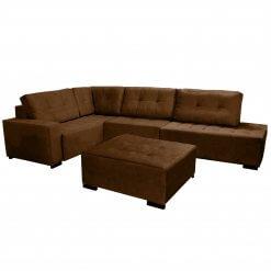 Sofa de Canto com Puff 9160 Tecido Suede Marrom