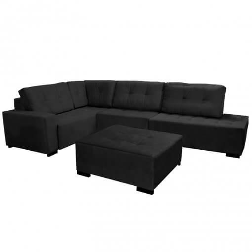 Sofa de Canto com Puff 9160 Tecido Suede Preto