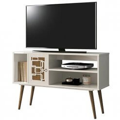 rack para tv virtus off white com naturale edn moveis