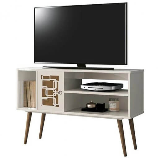 rack para tv virtus off white com naturale edn moveis
