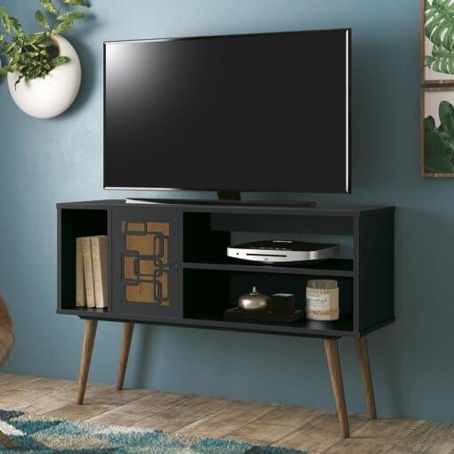 rack para tv virtus preto com naturale edn moveis