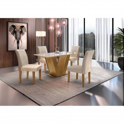 Conjunto Mesa de Jantar com 4 Cadeiras Classic Cel Moveis