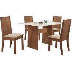 Conjunto Mesa de Jantar com 4 Cadeiras Dakota Cel Moveis