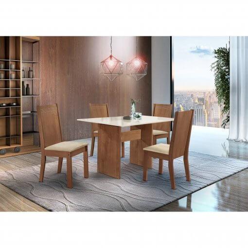 Conjunto Mesa de Jantar com 4 Cadeiras Dakota Cel Moveis Ype Off White