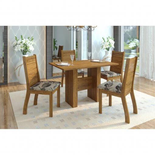 Conjunto Mesa de Jantar com 4 Cadeiras Duna Viero Moveis Imbuia