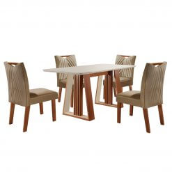 Conjunto Sala de Jantar Mesa Deli com 4 Cadeiras Sparta