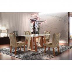 Conjunto Sala de Jantar Mesa Deli com 4 Cadeiras Sparta Castanho Premio