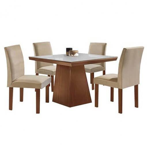 Conjunto Sala de Jantar Mesa Pietra 4 Cadeiras Granda