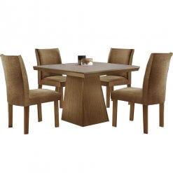 Conjunto Sala de Jantar Mesa Pietra com 4 Cadeiras Audace LJ Moveis Castanho Premio 135x90cm