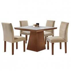 Conjunto Sala de Jantar Mesa Pietra com 4 Cadeiras Granda