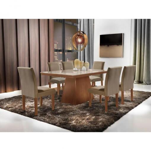 Conjunto Sala de Jantar Mesa Pietra com 6 Cadeiras Granda
