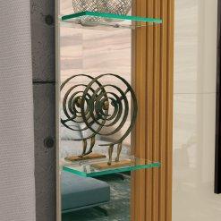 Painel Murano Espelho e Prateleira de Vidro