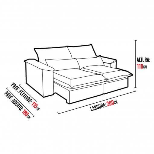 Sofa 4 Lugares Retratil e Reclinavel Antonelle Tecido Veludo 200cm Medidas