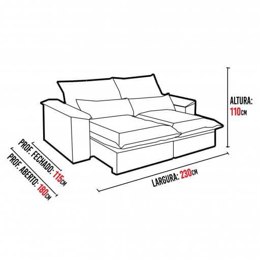 Sofa 4 Lugares Retratil e Reclinavel Antonelle Tecido Veludo 230cm Medidas