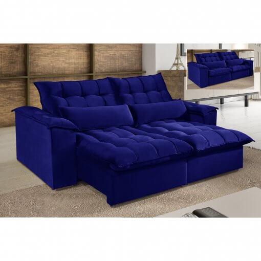 Sofa 4 Lugares Retratil e Reclinavel Antonelle Tecido Veludo Azul