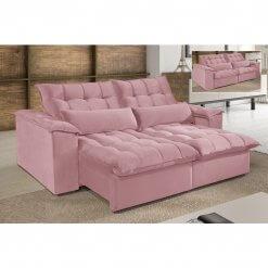 Sofa 4 Lugares Retratil e Reclinavel Antonelle Tecido Veludo Rose