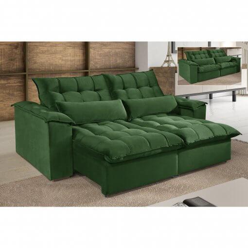 Sofa 4 Lugares Retratil e Reclinavel Antonelle Tecido Veludo Verde