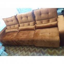 Sofa 4 Lugares Retratil e Reclinavel Minas 3 Modulos Tecido Suede 250cm Foto Real
