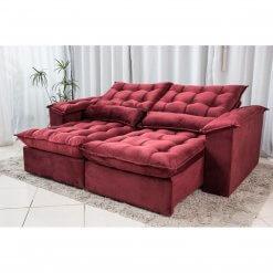 Sofa 4 Lugares com Molas Retratil e Reclinavel Antonelle Tecido Veludo 230cm