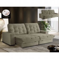 Sofa Medelin Retratil e Reclinavel 4 Lugares Bege