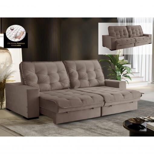 Sofa Medelin Retratil e Reclinavel 4 Lugares Rose