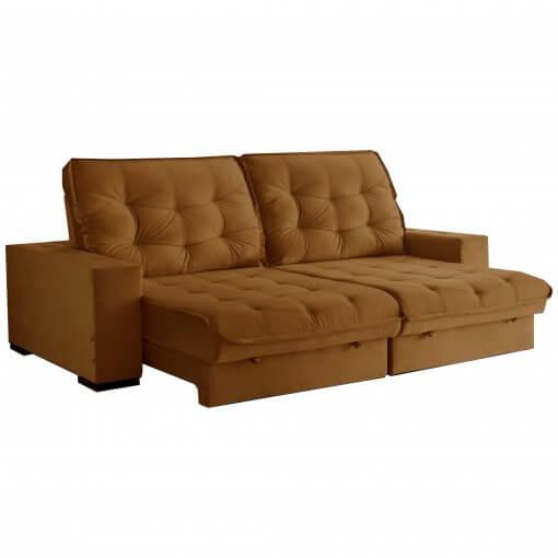 Sofa Medelin Retratil e Reclinavel Ferrugem 4 Lugares