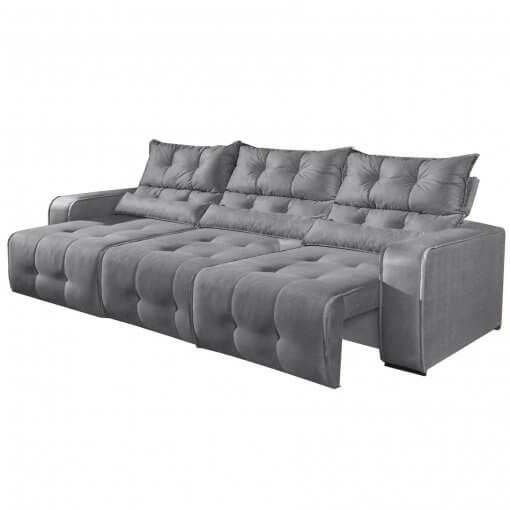 Sofa Retratil e Reclinavel 3 Modulos Minas Cinza