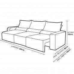 Sofa Retratil e Reclinavel 3 Modulos Minas Medidas