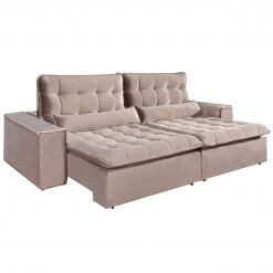 Sofa com Molas 4 Lugares Retratil e Reclinavel Paris Tecido Veludo 250cm Bege