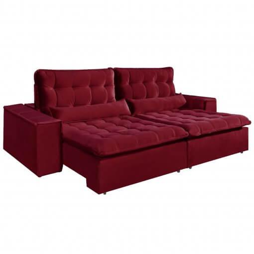 Sofa com Molas 4 Lugares Retratil e Reclinavel Paris Tecido Veludo 250cm Bordo