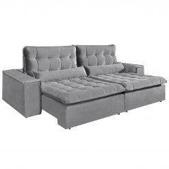 Sofa com Molas 4 Lugares Retratil e Reclinavel Paris Tecido Veludo 250cm Cinza