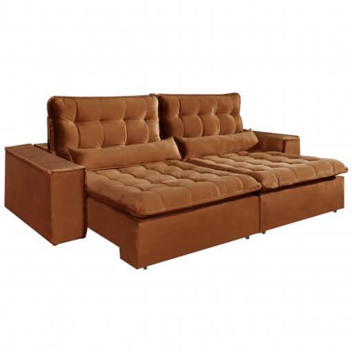 Sofa com Molas 4 Lugares Retratil e Reclinavel Paris Tecido Veludo 250cm Ferrugem