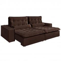 Sofa com Molas 4 Lugares Retratil e Reclinavel Paris Tecido Veludo 250cm Marrom