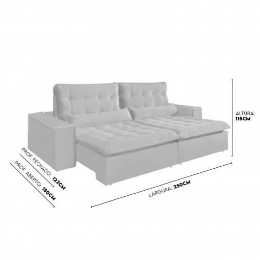 Sofa com Molas 4 Lugares Retratil e Reclinavel Paris Tecido Veludo 250cm Medidas