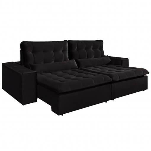 Sofa com Molas 4 Lugares Retratil e Reclinavel Paris Tecido Veludo 250cm Preto