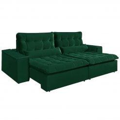 Sofa com Molas 4 Lugares Retratil e Reclinavel Paris Tecido Veludo 250cm Verde