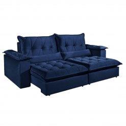 Sofa com Molas Ensacadas 4 Lugares Retratil e Reclinavel Italia Tecido Veludo 250cm Azul