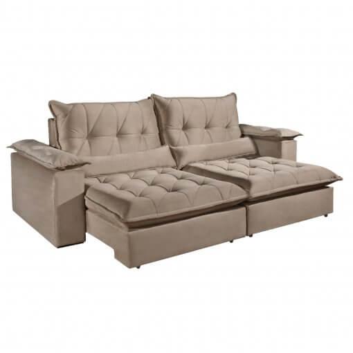 Sofa com Molas Ensacadas 4 Lugares Retratil e Reclinavel Italia Tecido Veludo 250cm Bege